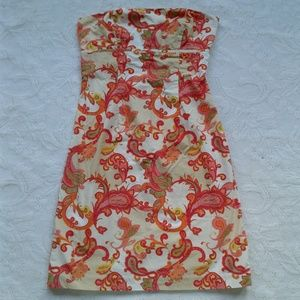 Tommy Hilfiger Dress Strapless Paisley Pink Red 4
